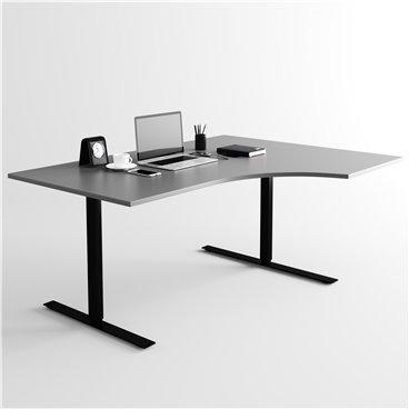 Svängt höj- och sänkbart skrivbord, svart stativ och mörkgrå skiva