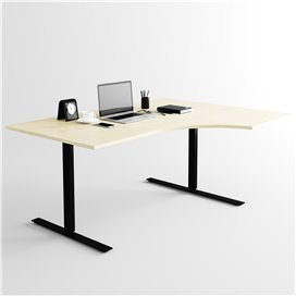 Svängt höj- och sänkbart skrivbord, svart stativ och björkskiva