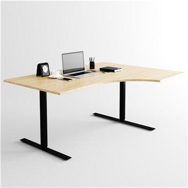 Svängt höj- och sänkbart skrivbord, svart stativ och ek skiva