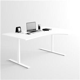Svängt höj- och sänkbart skrivbord, vitt stativ och vit skiva