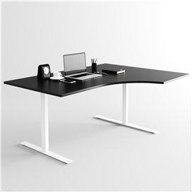 Svängt höj- och sänkbart skrivbord, vitt stativ och svart skiva