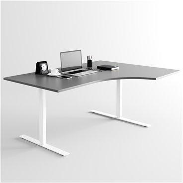 Svängt höj- och sänkbart skrivbord, vitt stativ och mörkgrå skiva