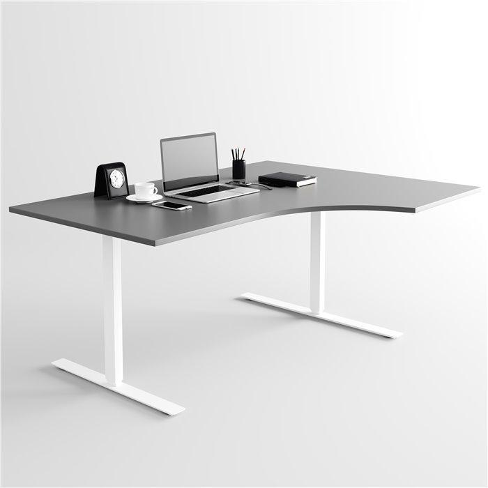 Skrivbord, vitt stativ och ljusgrå skiva Elite Kontorsmöbler