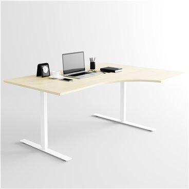 Svängt höj- och sänkbart skrivbord, vitt stativ och björk skiva