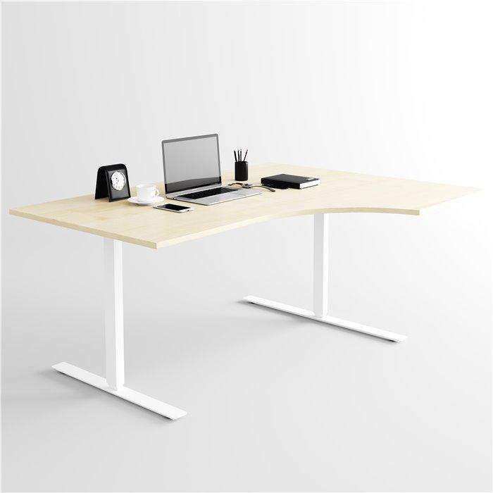 Berömda Svängt höj- och sänkbart skrivbord, vitt stativ och björkskiva MZ-65