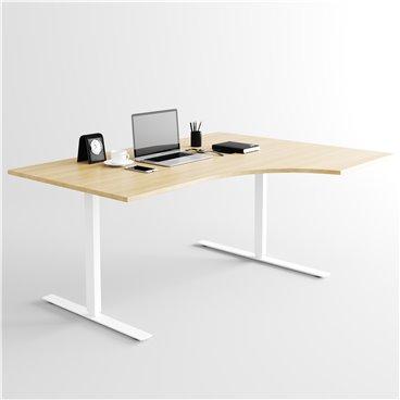 Svängt höj- och sänkbart skrivbord, vitt stativ och ek skiva