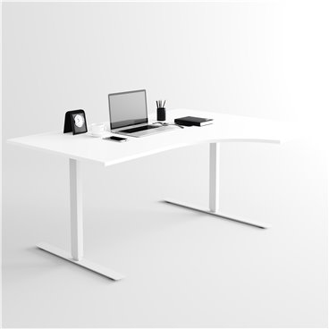 Svängt höj- och sänkbart skrivbord, silverstativ och vit skiva