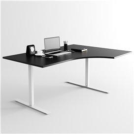 Svängt höj- och sänkbart skrivbord, silverstativ och svart skiva