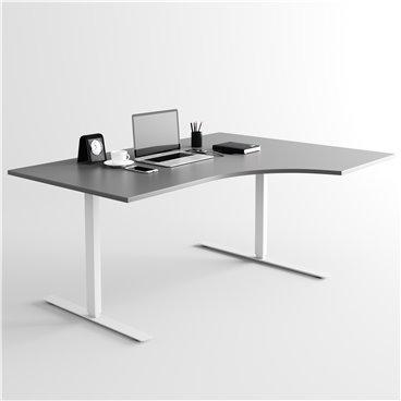 Svängt höj- och sänkbart skrivbord, silverstativ och mörkgrå skiva