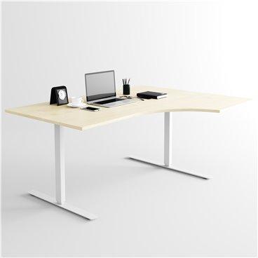 Svängt höj- och sänkbart skrivbord, silverstativ och björk skiva