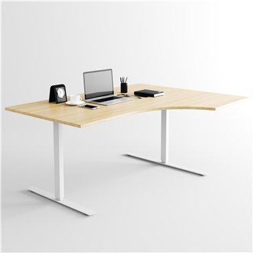 Svängt höj- och sänkbart skrivbord, silverstativ och ek skiva