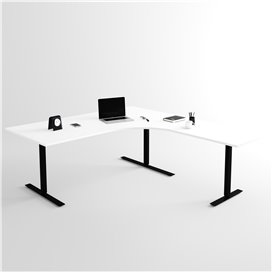 Höj- och sänkbart hörnskrivbord 3- ben, svart stativ och vit skiva