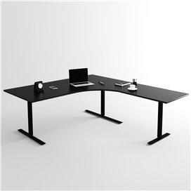 Höj- och sänkbart hörnskrivbord 3- ben, svart stativ och svart skiva