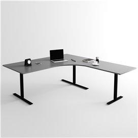 Höj- och sänkbart hörnskrivbord 3- ben, svart stativ och mörkgrå skiva