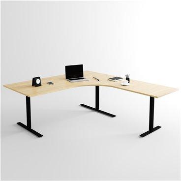 Höj- och sänkbart hörnskrivbord 3- ben, svart stativ och björk skiva