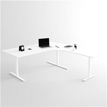 Höj- och sänkbart hörnskrivbord 3- ben, vitt stativ och vit skiva