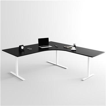Höj- och sänkbart hörnskrivbord 3- ben, vitt stativ och svart skiva