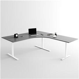 Höj- och sänkbart hörnskrivbord 3- ben, vitt stativ och mörkgrå skiva