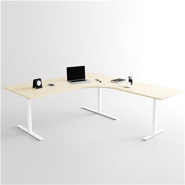 Höj- och sänkbart hörnskrivbord 3- ben, vitt stativ och björk skiva
