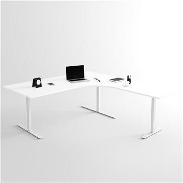 Höj- och sänkbart hörnskrivbord 3- ben, silverstativ och vit skiva