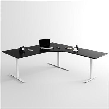 Höj- och sänkbart hörnskrivbord 3- ben, silverstativ och svart skiva