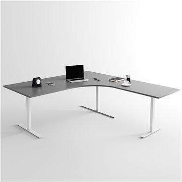 Höj- och sänkbart hörnskrivbord 3- ben, silverstativ och mörkgrå skiva