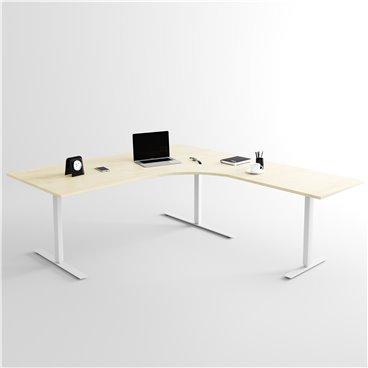 Höj- och sänkbart hörnskrivbord 3- ben, silverstativ och björk skiva