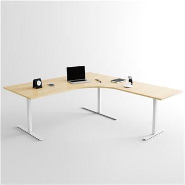 Höj- och sänkbart hörnskrivbord 3- ben, silverstativ och ek skiva