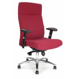 Charlotte komfortstol med hög rygg och justerbara armar och kromstativ - Röd