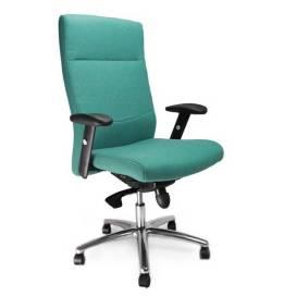 Charlotte komfortstol med hög rygg och justerbara armar och kromstativ - Aqua