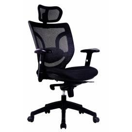 Maine, ergonomisk kontorsstol med nackstöd - Svart