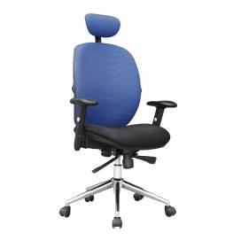 Tampa komfortstol med hög rygg och nackstöd - Blå, Svart