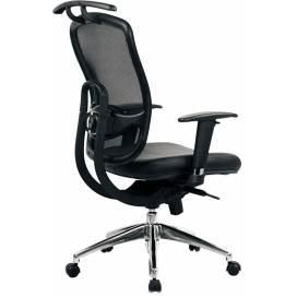 Arlington ergonomisk stol med hög rygg och inkluderad rockhängare med kromat kryss - Svart
