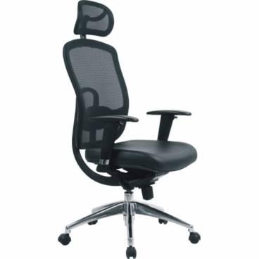 Clark, ergonomisk kontorsstol med hög rygg och nackstöd -Svart