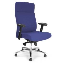 Charlotte komfortstol med hög rygg och justerbara armar och kromstativ - Blå
