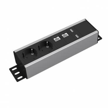 Axessline Uttagslist - 2 El 2 Data 2 USB, Alu/Svart